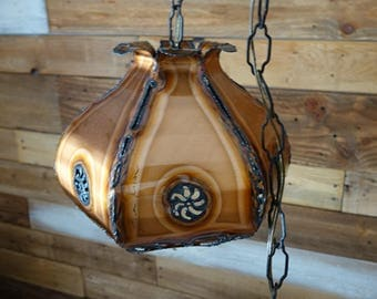Vintage Copper Pendant Lamp - ALLAN RYAN - French Canadian Design - Ceiling Lamp - Mid Century - Retro Lamp - Hanging Lamp
