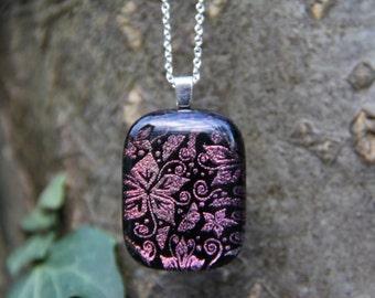 Floral dichroic glass pendant, dichroic necklace, fused glass, flower pattern fused glass pendant , pink red dichroic pendant, glass pendant