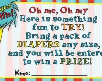 Baby Shower Invitation Insert, Diaper Raffle Ticket