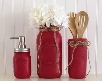 Red Mason Jar Decor, Mason Jar Kitchen Set, Mason Jar Soap Pump, Mason Jar Canister, Country Kitchen Decor, Mason Jar Vase, Painted Jars