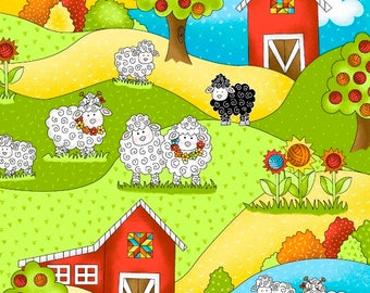 Knit Happy, Knitting Fabric, Sheep Fabric, Multicolored yarn balls and sheep in a Farm scene, Henry Glass, 1077-10