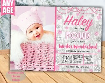 Winter Wonderland Birthday invitation Pink Christmas invite Baby it's cold outside Girl Snowflakes First Photo Photograph Holiday Gray BDW26