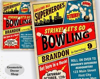 Bowling Birthday Invitation Superhero Bowling Birthday Party Invite Superheroes Boy Bowling Invitations Strike Red Blue Yellow BDBW7