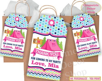 Thank you cards Camp Favor tags Camping Decoration birthday printable Pink Purple Thanks card tag Girl Birthday teal aqua Glamping FTCamp1