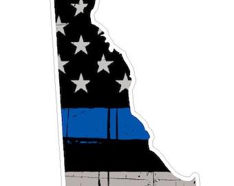 Delaware State (U10) Thin Blue Line Vinyl Yeti Tumbler Decal Sticker Laptop/Netbook