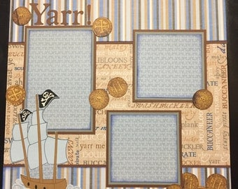 PIRATE Yarr! Premade 12x12 scrapbook page