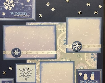 WINTER SNOWFLAKES Premade 12x12 scrapbook page