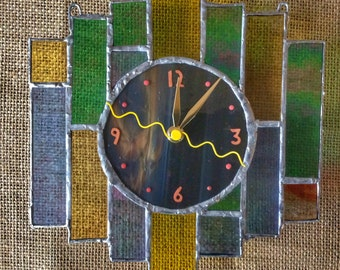Art Deco Fusion fused and stained glass wall clock