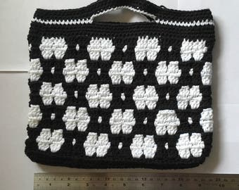 Black and White Crochet Purse