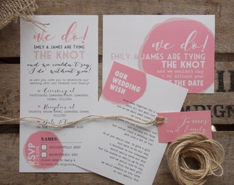 Rustic Vintage Wedding Invitations Pink Swirl Set