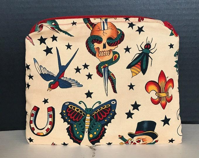 American Traditional Tattoo Bag | make-up bag, Zipper Pouch, Fun bag, money bag, Art Supply bag. Plumandkhloedesigns