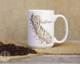 Creative California Watercolor Map Large Coffee Mug 15 oz.