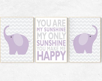 Purple grey nursery decor, You are my sunshine my only sunshine, Baby girl nursery decor, purple nursery decor, elephant nursery, playroom