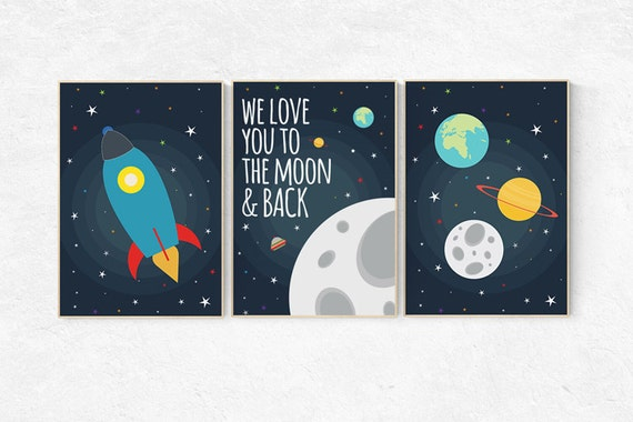 We Love You To The Moon And Back Space Nursery Decor Space