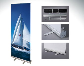 """Retractable Banner Stand 33"""" x 81"""" with Fabric Graphic"""