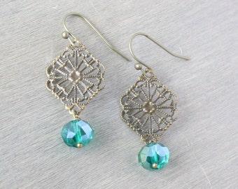 Bronze Filigree Teal Earrings - Faceted Earrings, Glass Earrings, Simple Earrings, Drop Earrings, Dangle Earrings, Blue Earrings, Boho Chic