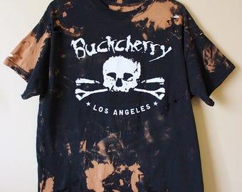 Splatter Bleached and Shredded Buckcherry T Shirt Large
