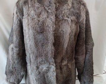 Vintage Rabbit Fur Coat Jacket Large Split End Ltd. Hong Kong