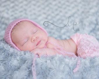 Pink Mohair Bonnet,Newborn Bonnet,Newborn Photo Prop,Newborn Hat,Photo Prop,Mohair Hat,Photography Prop,Mohair,Baby Bonnet,Bonnet,Baby