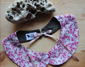 Peter Pan Collar removable, pattern liberty pink cotton, attache to the back with ribbon pink