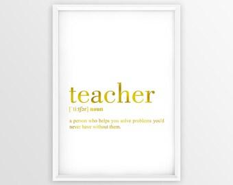 Teacher Definition Print, Teacher Print, Teacher Definition, Teacher Poster, Definition Printable Gold, Teacher Gift, College Decor (W049)