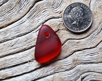 Seaham and North East sea glass - Red top-drilled charm - Direct from Imogen's Beach