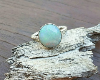 Australian Coober Pedy Sterling Silver Solid Opal Ring