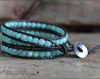 Gemstone Beaded Wrap Bracelet, Wrap Bracelet, Amazonite Jasper Gemstone Leather Wrap Bracelet, Boho Wrap Bracelet, Triple Wrap Bracelet