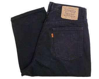 Vintage Levis 626 Mens Jeans 90s Black Denim Orange Tab Zip Fly W32 L33.5