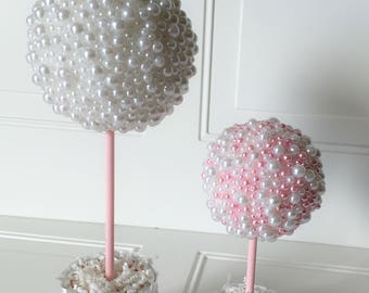 """Pearl Centerpiece 14"""" White and Pink - All White - Cream Mix Topiary Baptism Birthday Christening Wedding Baby Shower Table Decoration"""