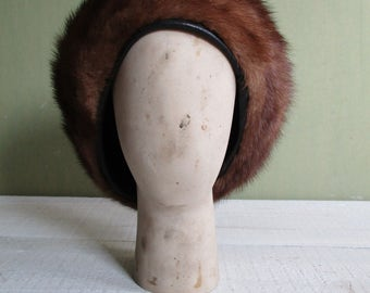Vintage beret fur/mink beret/winter beret/ brown beret/beret women's