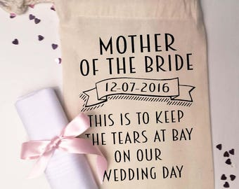 Mother of the Bride or Mother of the Groom. Cotton gift bag. personalised wedding thank you gift bag + handkerchief.