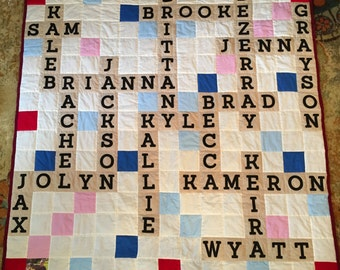 Personalized Hand Quilted Scrabble Quilt