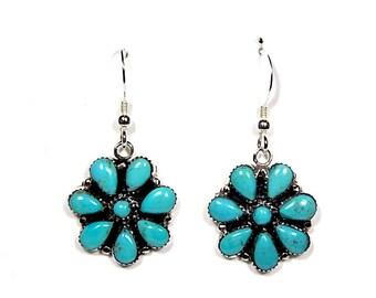 Genuine Kingman Arizona Turquoise 925 Sterling Silver Southwestern Earrings