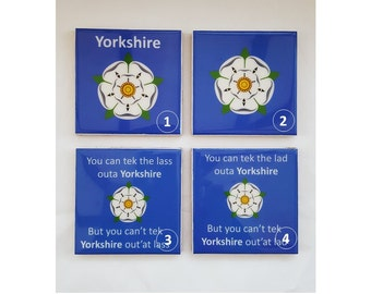 Ceramic Yorkshire Coasters. Yorkshire Flag. Yorkshire Sayings.
