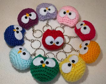 Handmade owl key chain, amigurumi, key ring, crochet, gifts for him, gifts for her, gift, birthday, home, keys, new home