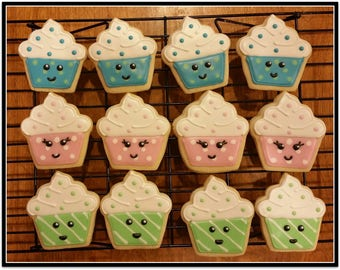 Cup Cake Cut Out Sugar Cookies - 1 Dozen