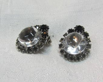 Jelly Belly Rhinestone Clip Earrings - Clear Magnified Center with Surrounding Grey and Black Rhinestones in ST Setting