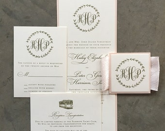 Sample Drawn Laurel wedding invitation suite, in blush and gold