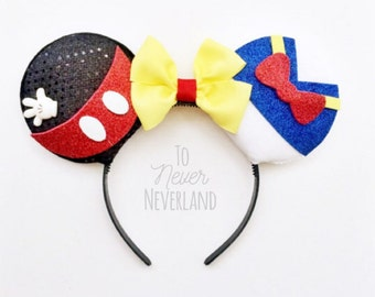 Mickey and Donald Ears, Mickey Mouse Ears, Donald Duck Ears, Mickey Ears Headband, Minnie Ears, Mickey Mouse Inspired Ear, Pre-Order listing