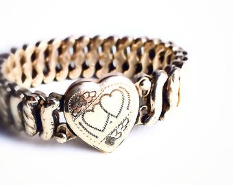 Vintage Heart and Flower Expansion Bracelet ~ WWII Era 1940s Gold Filled Sweatheart Jewelry