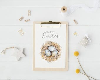 Happy Easter Modern Watercolour typography print