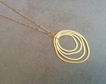 Gold Circle Necklace, Circle Necklace, Long Necklace, Circle Jewelry, Statment Necklace, Necklace, Wedding Gift, Circle Pendant Necklace