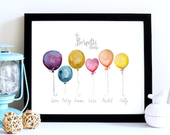 Watercolour Balloons Family Tree Gift, Family Tree Print, Family Gift, Family Christmas Gift, Family Portrait, Personalised Family Gift