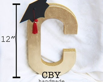 GOLD 12 Inch graduation monogram letter with Cap and Tassel // graduation party decorations // graduation party supplies