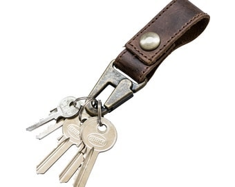 Rustic Leather Key Ring Holder Handmade by Hide & Drink