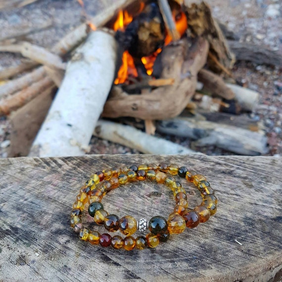 Top Quality Mexican Amber Bead Bracelet Yellow Red Black Mix Stretch Jewelry Style Natural Gem Fossil Hippie OOAK Viking Silver NewEarthGem