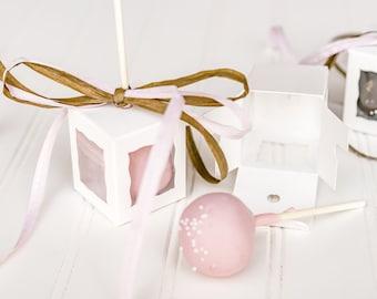 30 White Cake Pop Boxes / 1 3/4 x 1 3/4 x 2