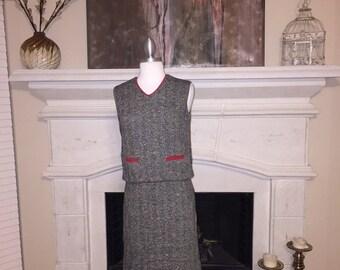 Vintage Herringbone with Red Detail Mini Dress