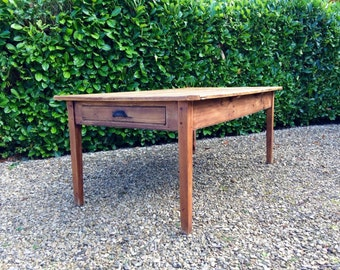 French Farmhouse Pine Kitchen Table Rustic
